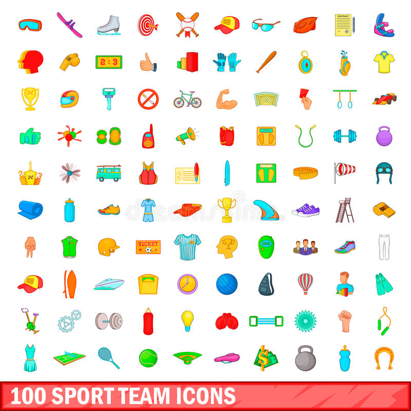 100 sport team icons set, cartoon style. 100 sport team icons set in cartoon style for any design illustration vector illustration