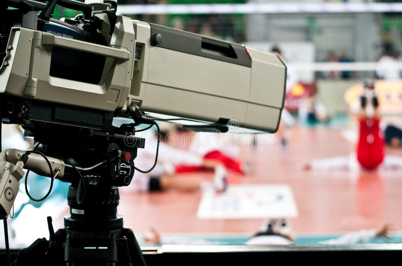 Sport television camera royalty free stock photo