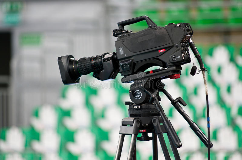 Sport television camera royalty free stock image