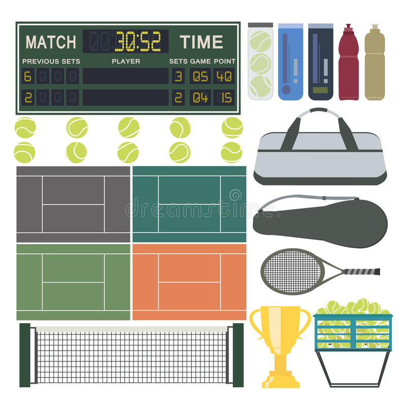 Sport-tennis-materiaal stock illustratie