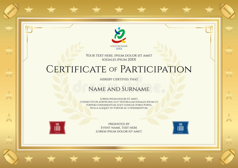 Sport Theme Certificate Of Participation Template Stock ...