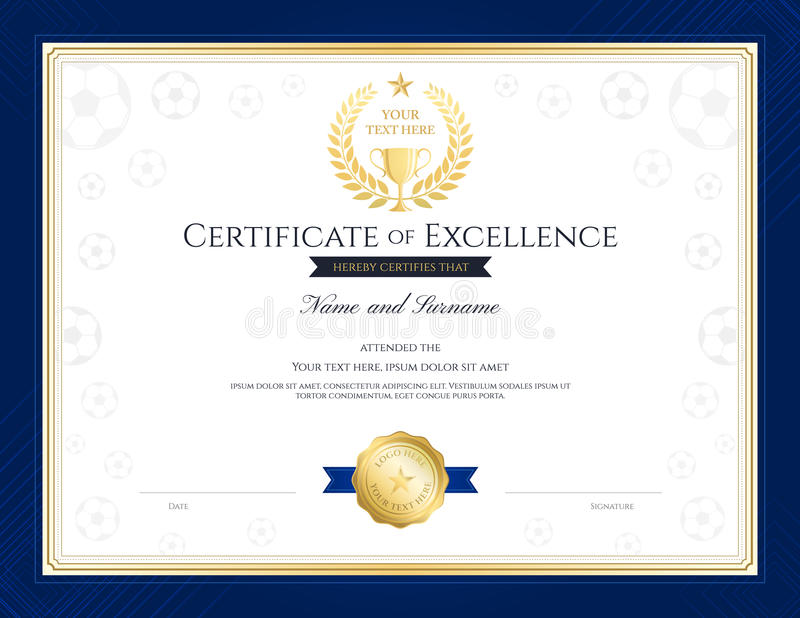 Sport Theme Certification Of Excellence Template Stock Vector ...