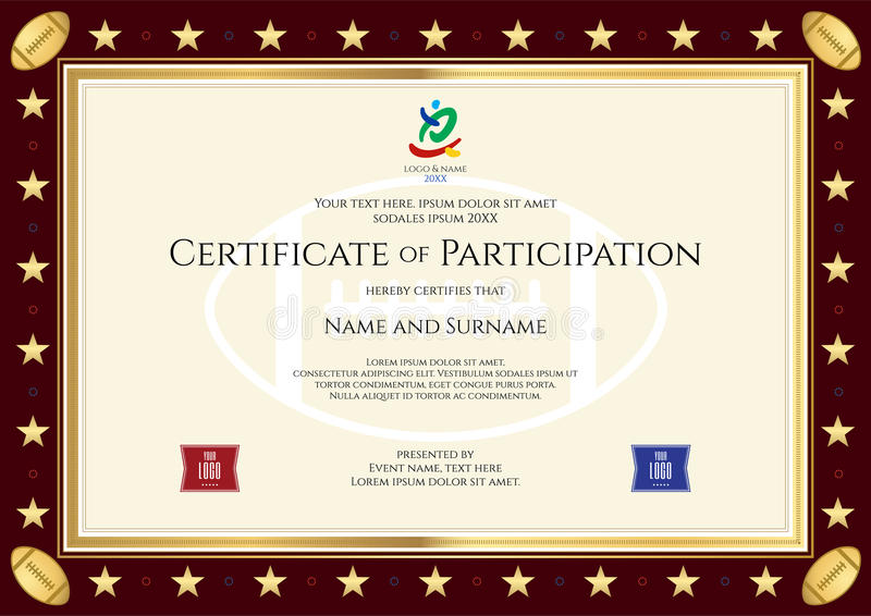 sport theme certification of participation template stock