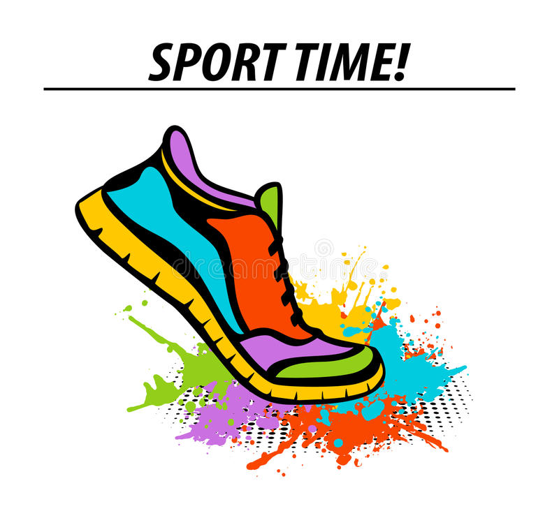 Sport time motivational colorful banner with sport running fitness sneaker stock illustration