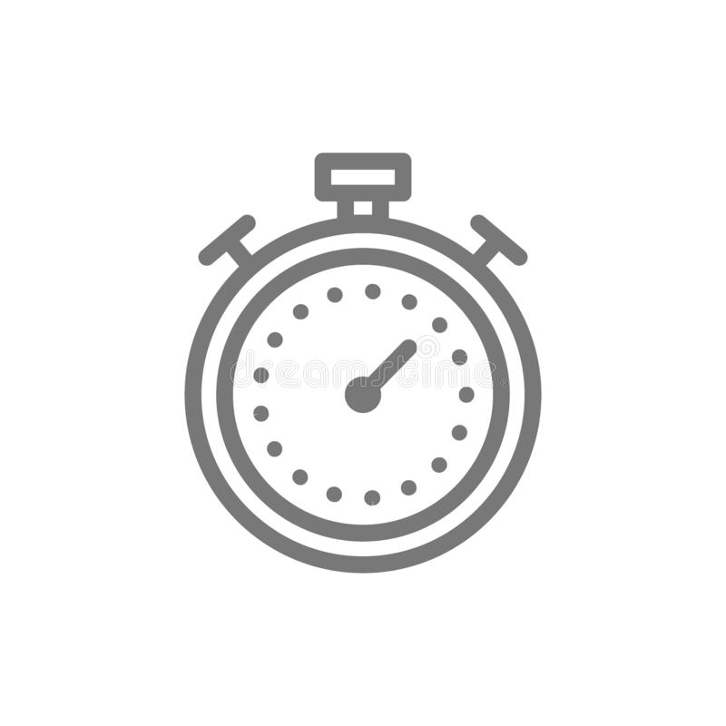 Sport timer and stopwatch line icon. royalty free illustration