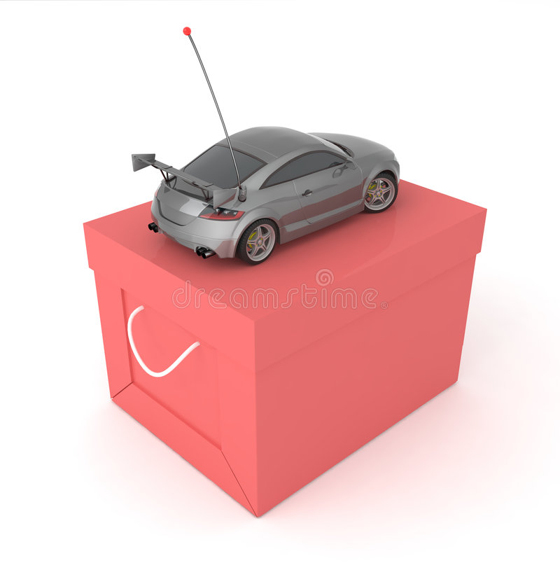 Free Sport Toy Car With Red Box Royalty Free Stock Images - 6345249