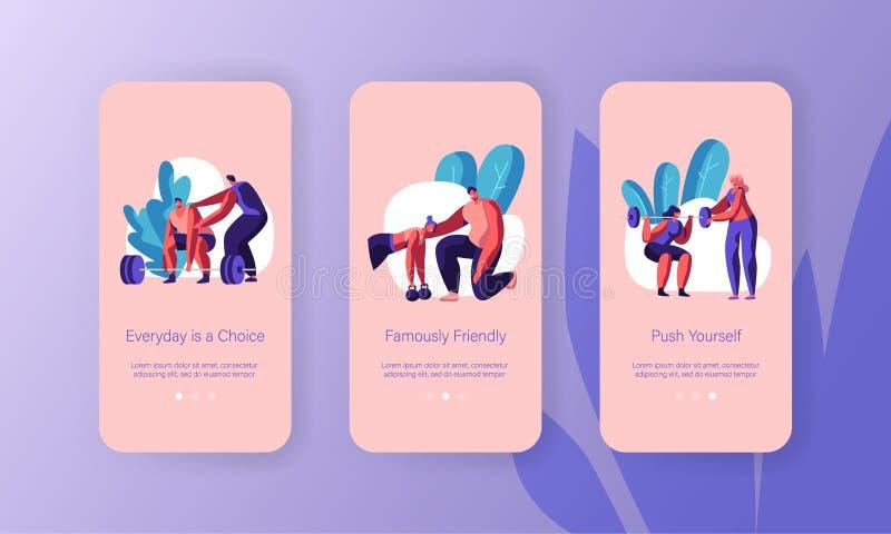 Sport-Trainer-Training Sportsman Mobile-App-Seite an Bord des Schirm-Satzes Frauen-Hocke mit Barbell Mann-anhebendes Gewicht in d stock abbildung