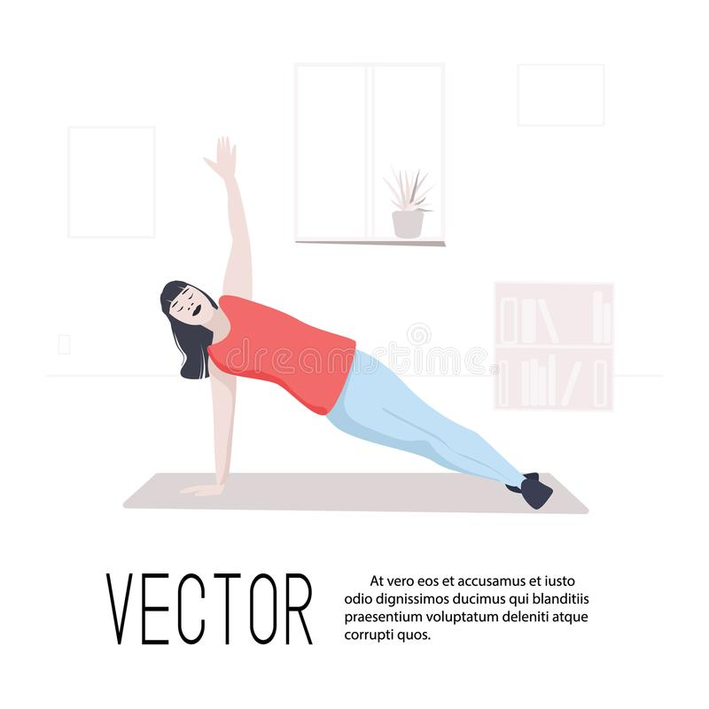 Sport training woman in plank vector art. Girl home fitness flat illustration. People indoor activity. Isometric healthy royalty free illustration