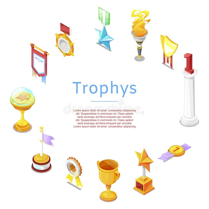 Sport trophy, prizes, statuettes and golden cups for winners vector icons poster. Golden reward and gold trophy for royalty free illustration