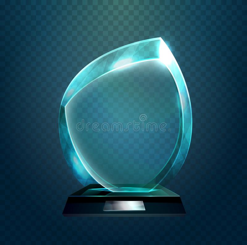 Sport trophy or transparent achievement sign. Shiny glassware 3d award or prize with rounded corners. Sport trophy or transparent achievement sign. Pedestal royalty free illustration