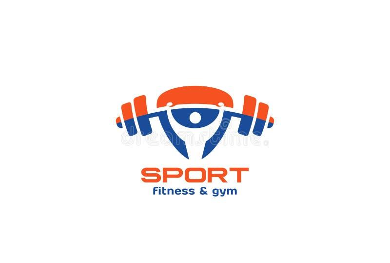Sport-Turnhallen-Eignungs-Logodesign-Vektordreieck lizenzfreie abbildung