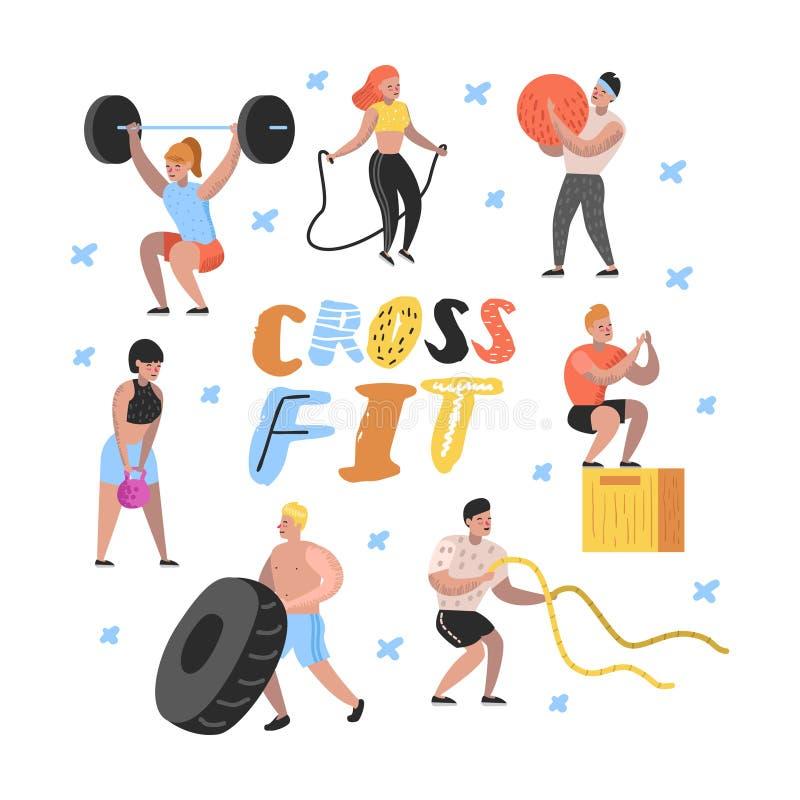 Sport-Turnhallen-flache Leute-Charaktere mit Barbells und Eignungs-Ausrüstung Training, Crossfit, bodybuildende muskulöse Übungen vektor abbildung