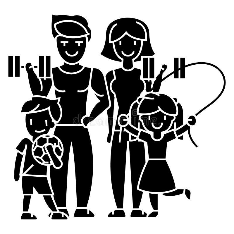 Sport-Turnhallenikone der Familie aktive glückliche, Vektorillustration, Zeichen auf lokalisiertem Hintergrund lizenzfreie abbildung