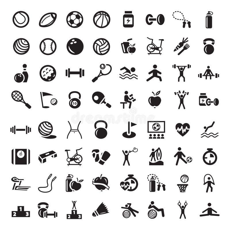 Sport und fitnes Ikonen eingestellt lizenzfreie abbildung
