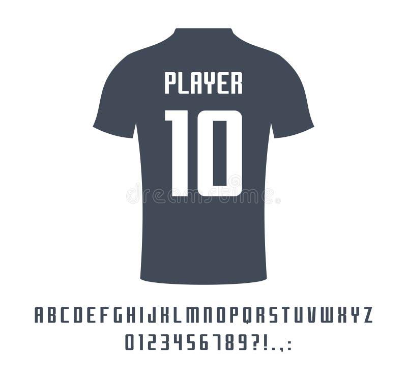 Sport universal font for soccer, football, baseball or basketball team logo, t-shirt. Athletic player name typeface royalty free illustration