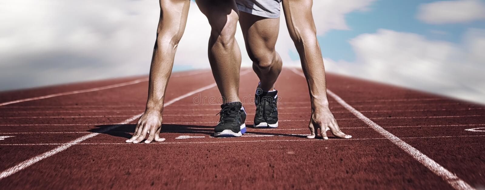 Sport. Unknown young runner on the start line. Horizontal royalty free stock photos