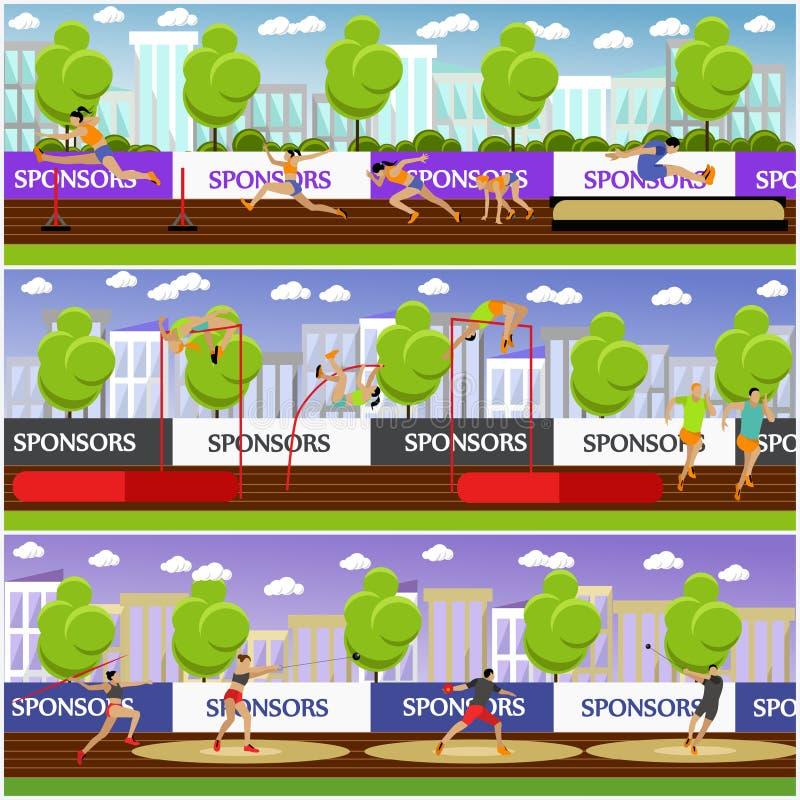 Sport van de vectorillustratie van het atletiekconcept Spoor en gebieds de concurrentiespelen Sportman die, het springen, het wer vector illustratie