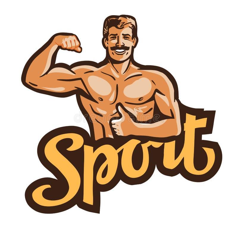 Sport vectorembleem gymnastiek, bodybuilding pictogram stock illustratie