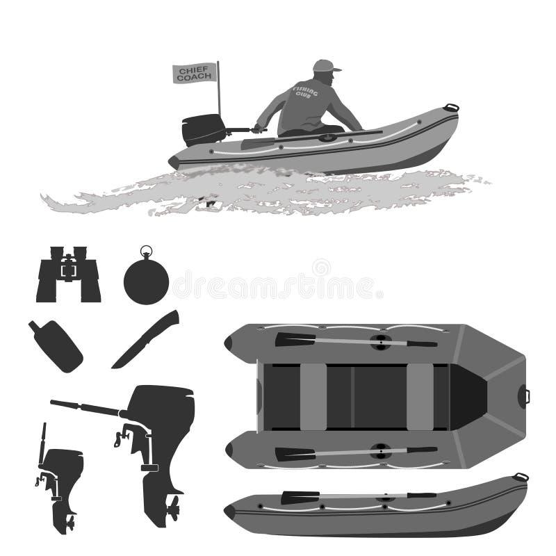 Sport visserij op elk moment voor amateurs en beroeps stock illustratie