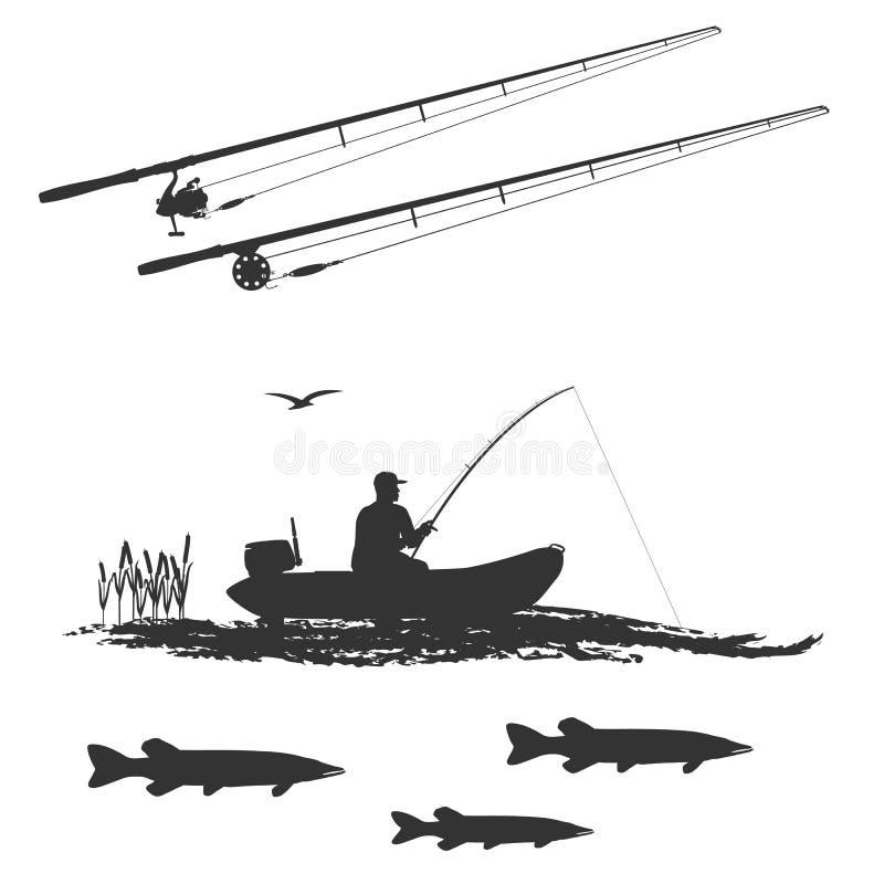 Sport visserij op elk moment voor amateurs en beroeps royalty-vrije illustratie