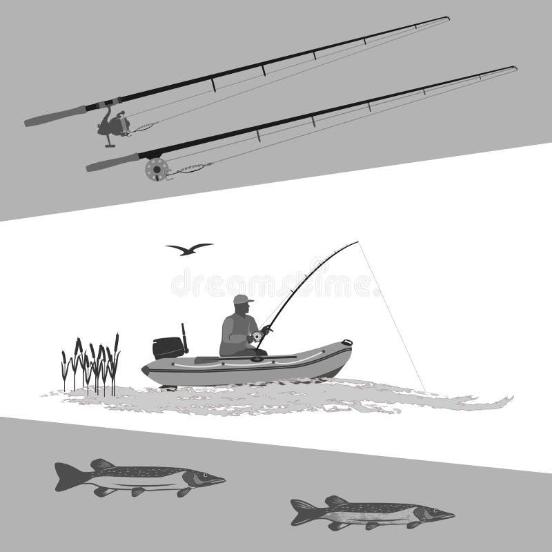 Sport visserij op elk moment voor amateurs en beroeps vector illustratie
