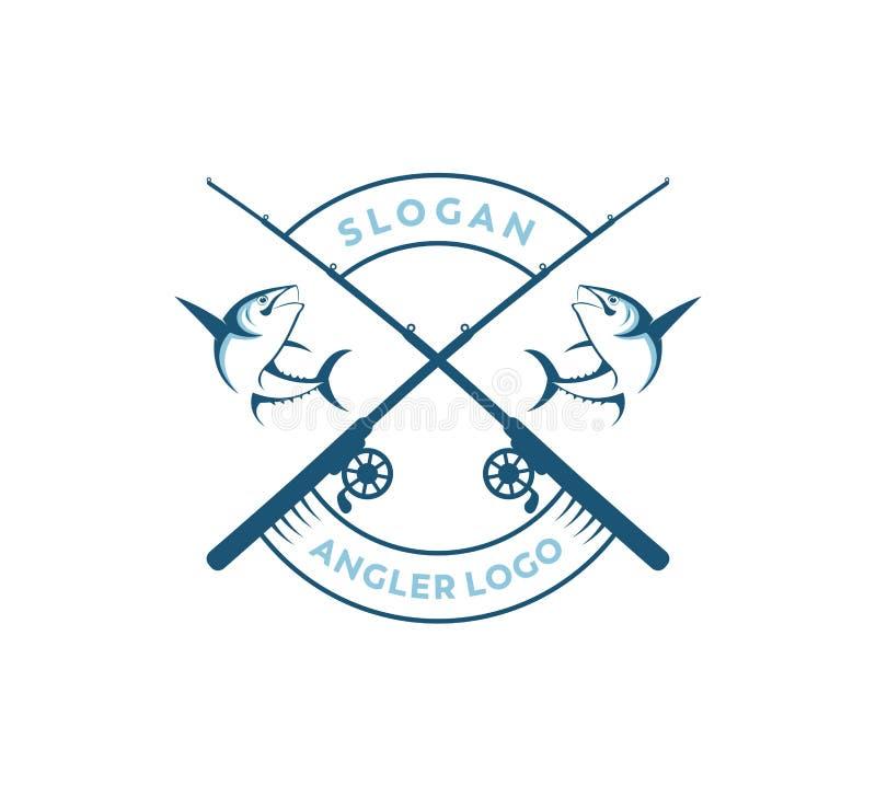 sport visserij of vector het embleemontwerp van het visserspictogram vector illustratie