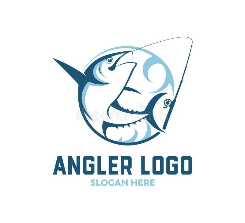 sport visserij of vector het embleemontwerp van het visserspictogram royalty-vrije illustratie