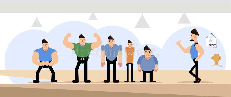 Sport vlak concept Gymnastiekbinnenland met mensen en trainer vector illustratie