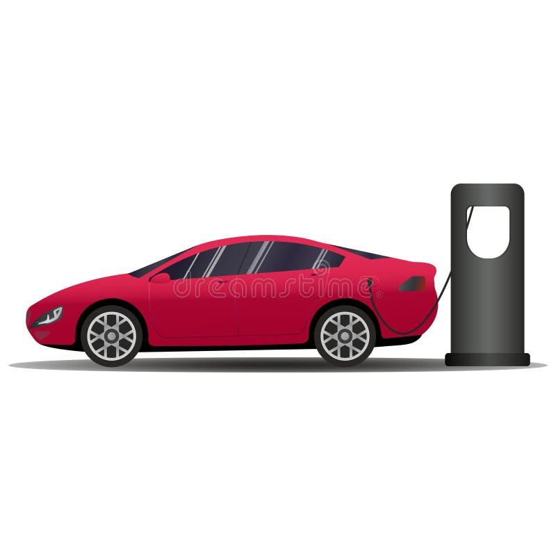 Sport-voiture européenne d'un rouge ardent de style Bannière de vecteur avec la voiture électrique et la station de charge Compar illustration de vecteur