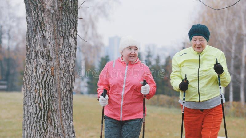 Sport voor bejaarden in de herfstpark - het noordse lopen onder de herfstpark stock fotografie