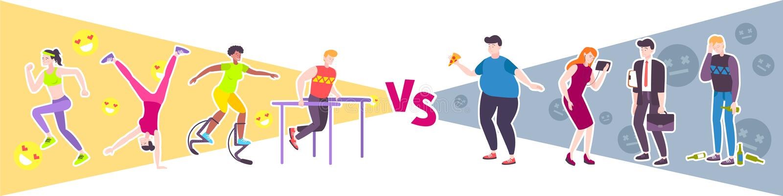 Sport vs Lazy Design Concept. With people leading unhealthy lifestyle and group of athletes engaged in workout flat vector illustration royalty free illustration