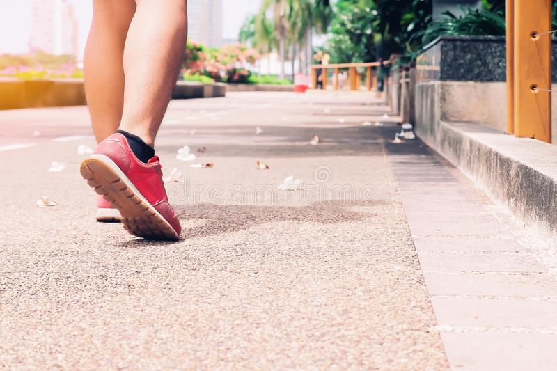 Sport, Walking man in the park, Healthy lifestyle stock photography