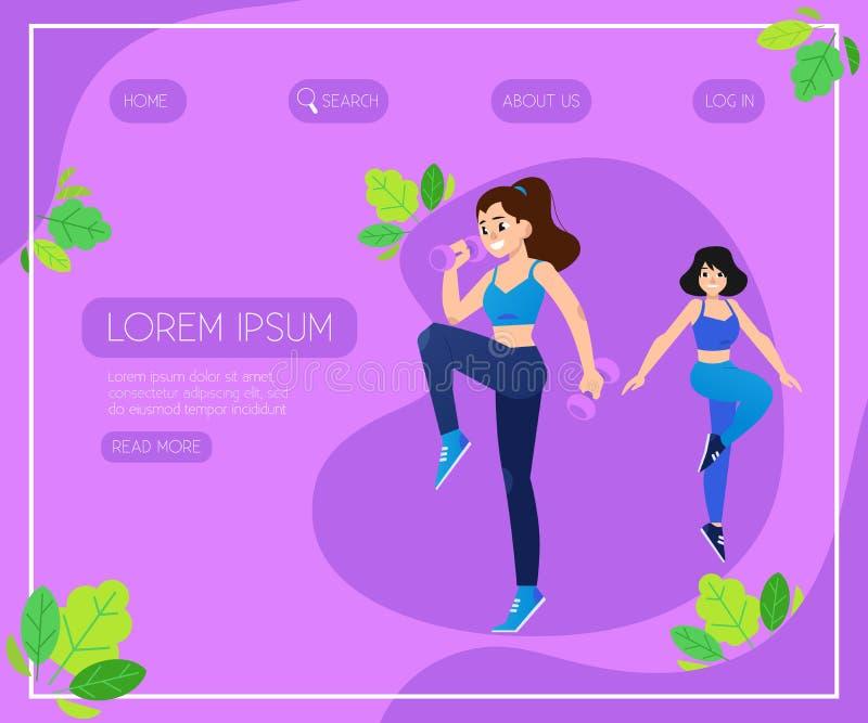 Sport wektorowa ilustracja z młodymi kobietami robi sprawności fizycznej ćwiczy z ciężarami royalty ilustracja