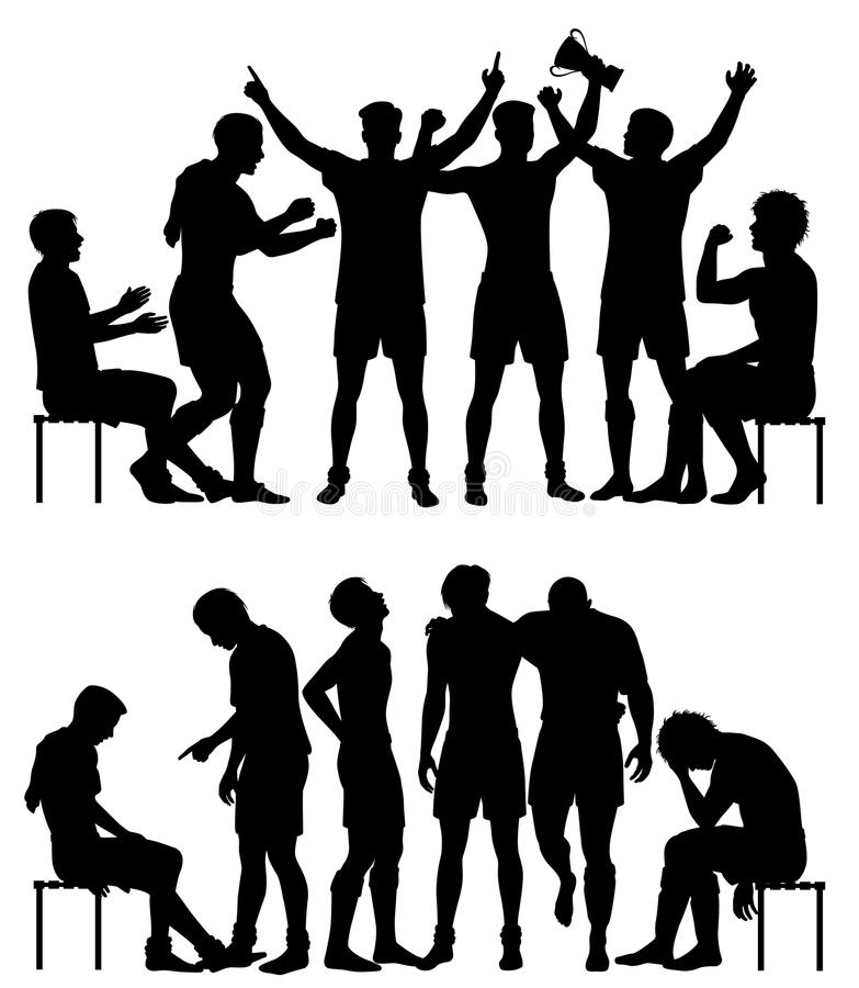 Sport winners and losers silhouettes vector illustration