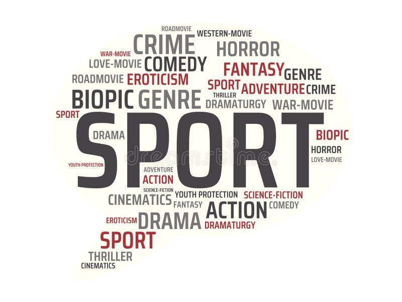 SPORT - wizerunek z słowami kojarzącymi z tematu filmem, słowo, wizerunek, ilustracja royalty ilustracja