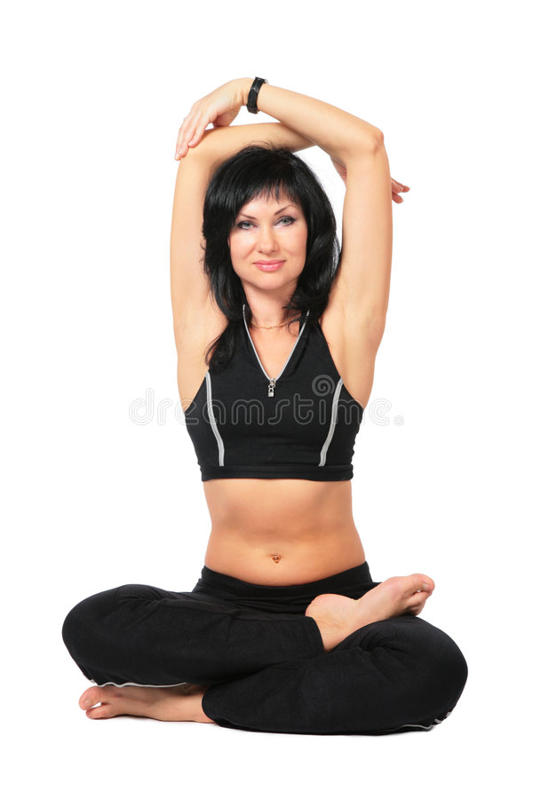 Download Sport Woman In Black Makes Exercise Stock Photo - Image: 7343702
