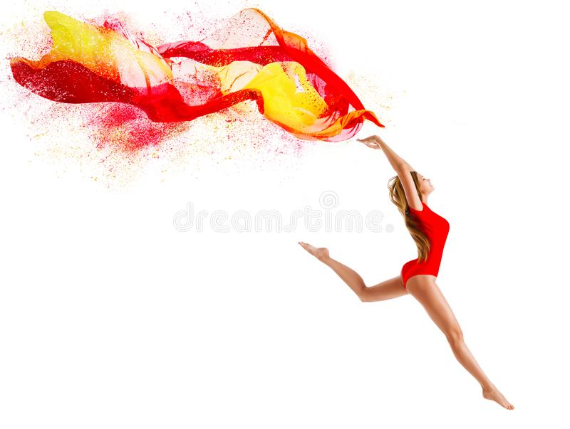 Sport Woman Jumping with Flying Cloth, Happy Gymnast Girl with Fluttering Fabric, Gymnastics. Over White Background stock photography