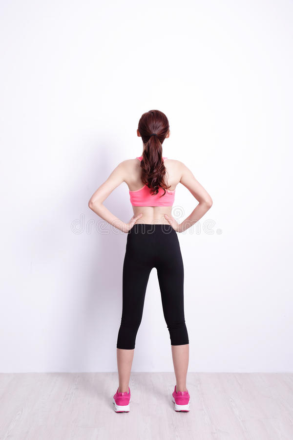 Sport woman look and think royalty free stock image