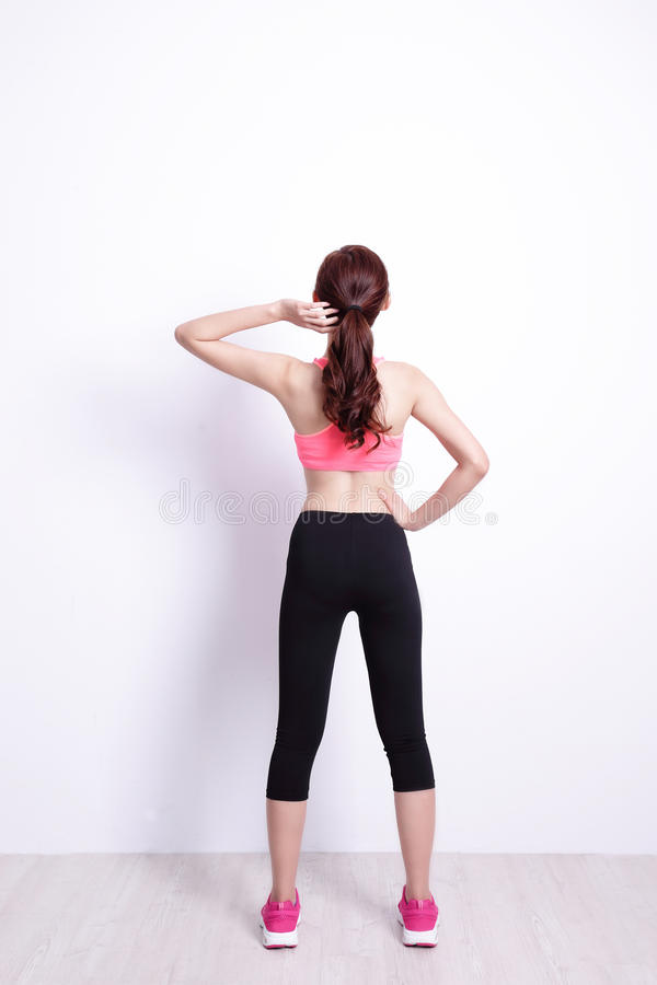 Sport woman look and think stock photos