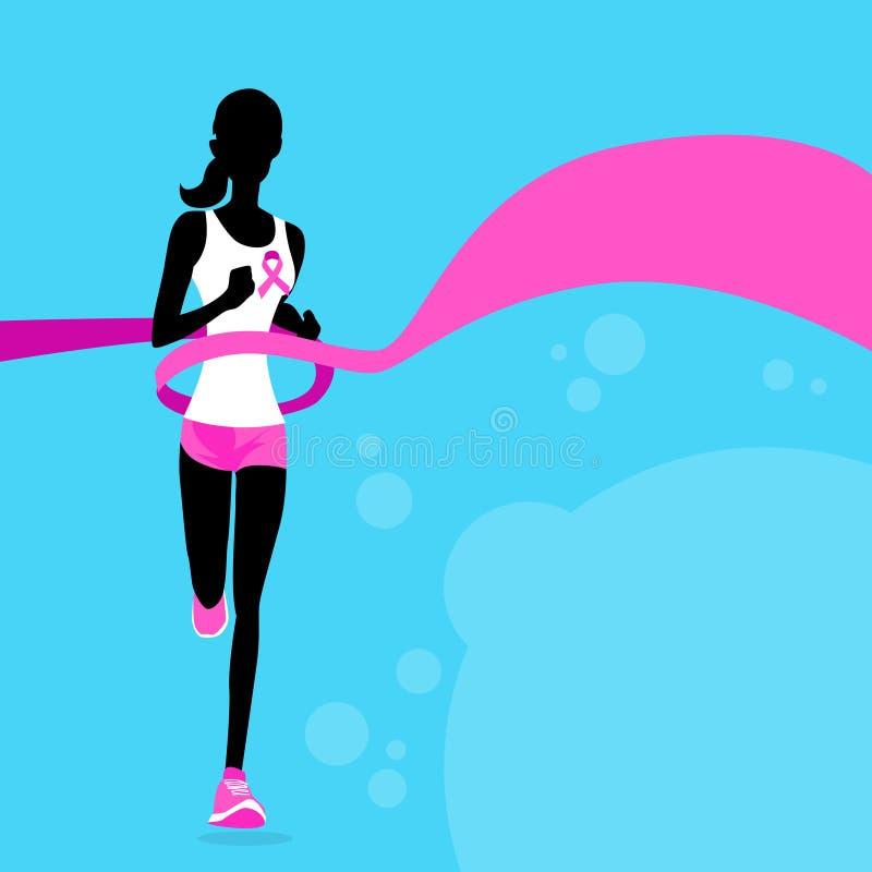 Sport Woman Running Pink Ribbon Breast Cancer. Awareness Joggin Female Flat Vector Illustration vector illustration
