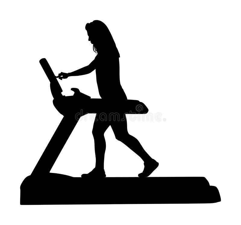 Sport woman running on treadmill in gym  silhouette. Girl on running track cardio training. Fitness lady personal trainer. Sport woman running on a treadmill in stock illustration