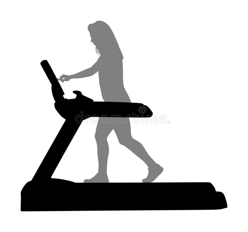 Sport woman running on treadmill in gym  silhouette. Girl on running track cardio training. Fitness lady personal trainer royalty free illustration
