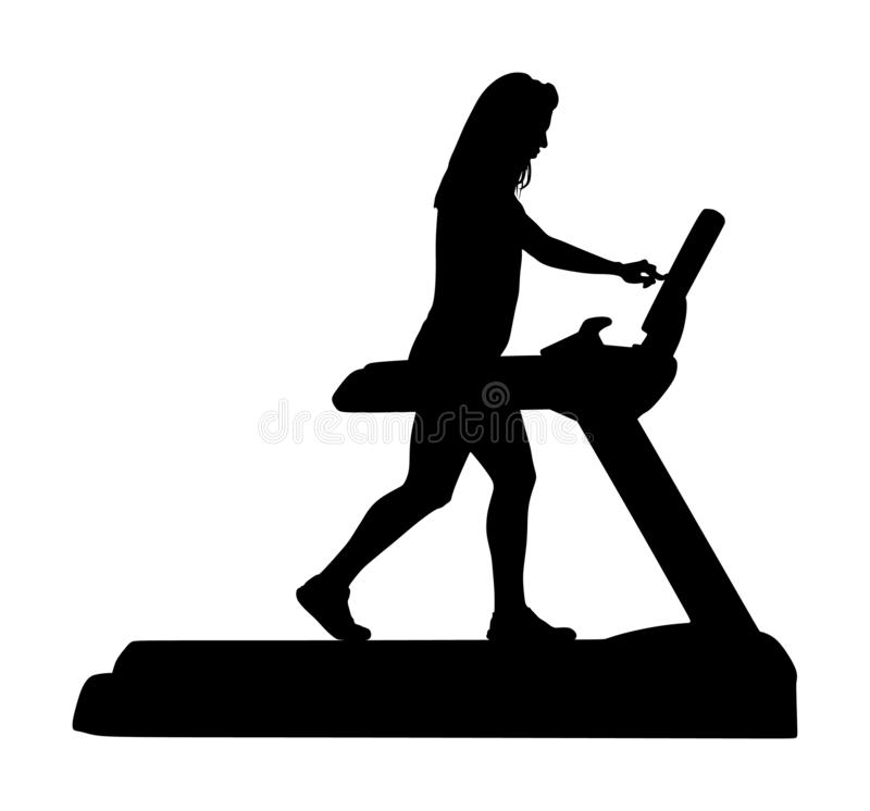 Sport woman running on a treadmill in gym silhouette. royalty free illustration