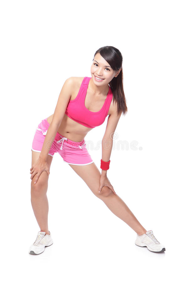 Download Sport Woman Warming Up And Touch Leg Stock Image - Image: 26932277