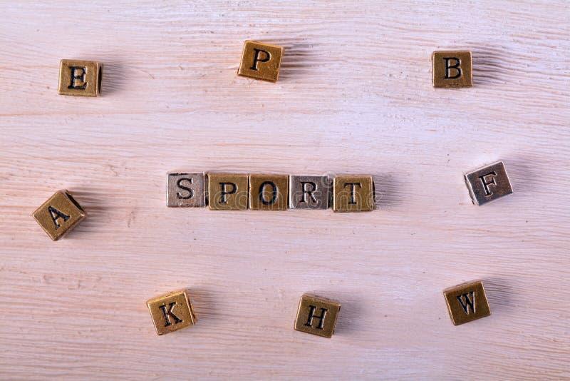 Sport word metal block stock image