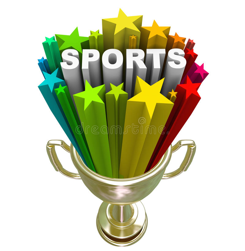 Sport-Wort-Goldtrophäen-Sieger-Meister vektor abbildung