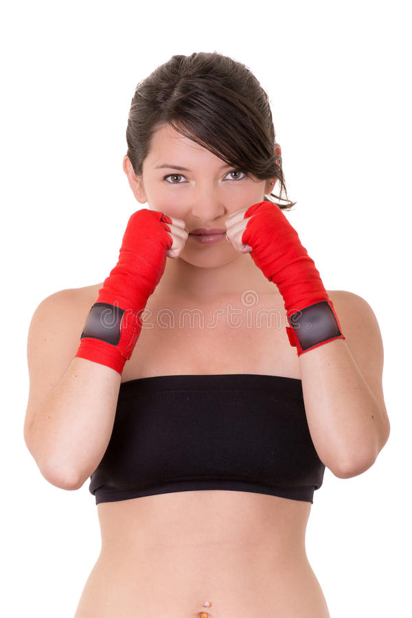 Download Sport Young Woman, Gloves, Fitness Girl Over White Stock Photo - Image: 34255958