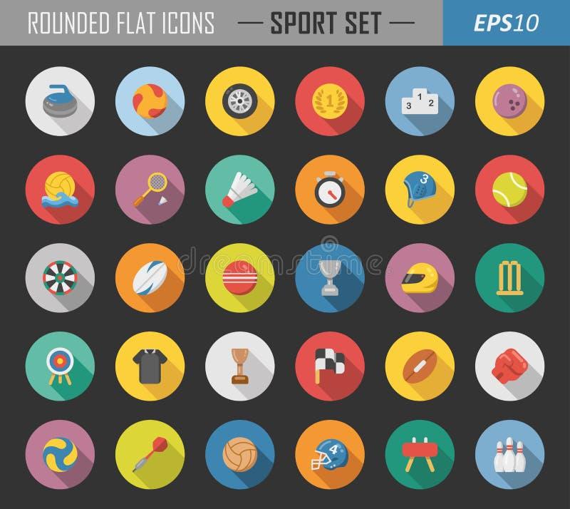 Sport zaokrąglone płaskie ikony royalty ilustracja