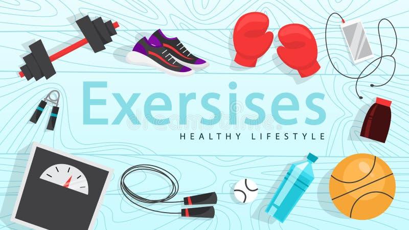 Sporta ćwiczenia sieci sztandar Czas sprawność fizyczna i trening ilustracja wektor