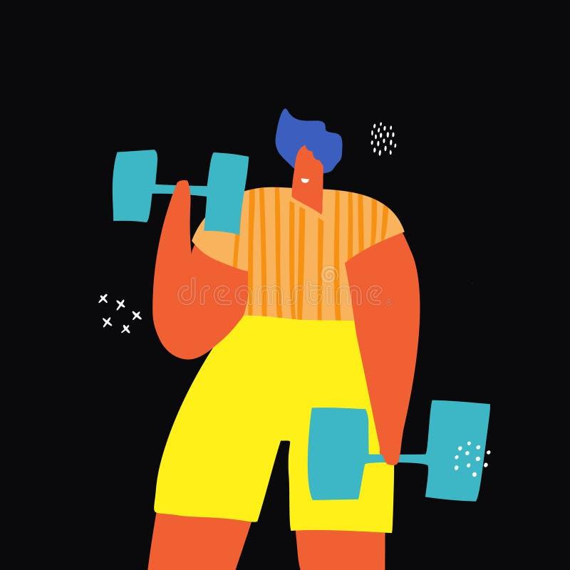 Sporta ćwiczenie z dumbbells fla koloru rysunkiem ilustracji